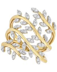 Macy's - Metallic Diamond Leaf Ring (1/2 Ct. T.w.) In 14k Gold-plated Sterling Silver - Lyst