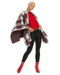 Charter Club Red Tartan Plaid Cashmere Cape, Created For Macy