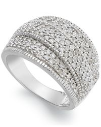 Wrapped in Love - Metallic Diamond Pave-set Crossover Ring In Sterling Silver (1 Ct. T.w.) - Lyst