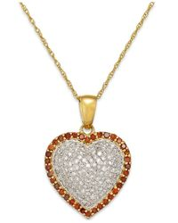 Macy's - Metallic White And Red Diamond Heart Pendant Necklace In 10k Gold (1/2 Ct. T.w.) - Lyst