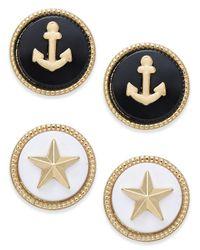 Charter Club - Metallic Gold-tone 2-pc. Set Marina-theme Stud Earrings - Lyst