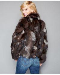 The Fur Vault Green Pieced Fox Fur Cropped Jacket