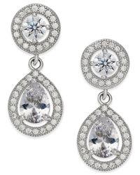 Macy's   Metallic Giani Bernini Cubic Zirconia Teardrop Earrings In Sterling Silver   Lyst