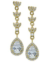 Giani Bernini - Metallic Cubic Zirconia Halo Pear Drop Earrings In 18k Gold-plated Sterling Silver - Lyst