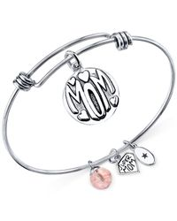 Macy's | Metallic Mom Charm And Cherry Quartz (8mm) Bangle Bracelet In Stainless Steel | Lyst