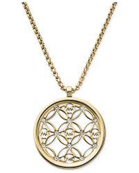 Michael Kors - Metallic Clear Open Logo Pendant Necklace - Lyst