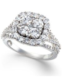 Macy's | Metallic Diamond Cluster Engagement Ring (1 Ct. T.w.) In 14k White Gold | Lyst