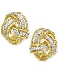 Macy's | Metallic Diamond Love Knot Stud Earrings In 10k Gold (1/5 Ct. T.w.) | Lyst