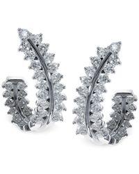 Effy Collection | Multicolor Effy Diamond Hoop Earrings (1-1/2 Ct. T.w.) In 14k White Gold | Lyst