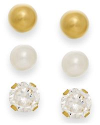 Macy's | White Cultured Freshwater Pearl, Cubic Zirconia And Ball Stud Set In 10k Gold | Lyst
