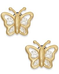 Macy's | Metallic Cubic Zirconia Butterfly Stud Earrings In 10k Gold | Lyst