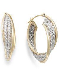 Macy's   Metallic Two-tone Rope Hoop Earrings In 10k Gold   Lyst