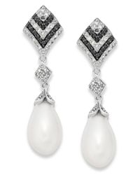 Macy's - Metallic Black And White Diamond (1/3 Ct. T.w.) And Cultured Freshwater Pearl (7mm) Earrings In Sterling Silver - Lyst