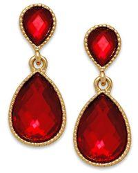INC International Concepts Gold-tone Red Stone Teardrop Earrings