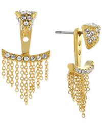 Vince Camuto - Metallic Gold-tone Pave Triangle And Chain Fringe Ear Jackets - Lyst