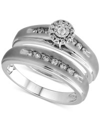 Beautiful Beginnings - Metallic Diamond Halo Bridal Ring Set In Sterling Silver (1/3 Ct. T.w.) - Lyst