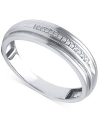 Beautiful Beginnings | Metallic Men's Diamond Accent Wedding Band In 14k White Gold for Men | Lyst