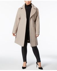 T Tahari - Brown Plus Size Faux-fur-collar Belted Wrap Coat - Lyst