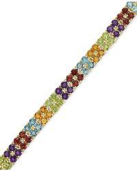 Macy's - Metallic Multi-stone Tennis Bracelet In 18k Gold Over Sterling Silver (17-3/4 Ct. T.w.) - Lyst