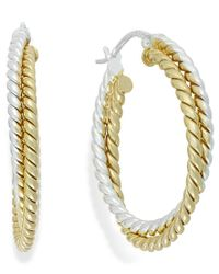 Giani Bernini - Metallic Twisted Double Hoop Earrings In 24k Gold Over Sterling Silver And Sterling Silver - Lyst