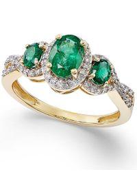 Macy's | Metallic Emerald (1 Ct. T.w.) And Diamond (1/4 Ct. T.w.) Three-stone Ring In 14k Gold | Lyst