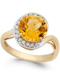 Macy's | Yellow Citrine (2-7/8 Ct. T.w.) And Diamond (1/5 Ct. T.w.) Ring In 14k Gold | Lyst