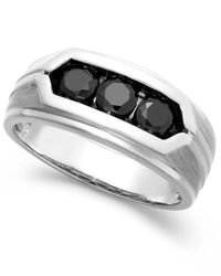 Macy's | Metallic Men's Black Diamond Ring In Sterling Silver (1 Ct. T.w.) for Men | Lyst