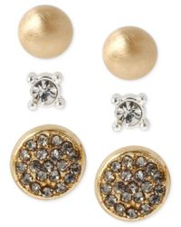 Kenneth Cole | Metallic Two-tone Pave Circle And Crystal Stud Earring Set | Lyst