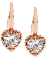 Betsey Johnson | Pink Rose Gold-tone Crystal Heart Drop Earrings | Lyst