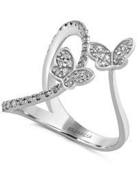 Effy Collection | Multicolor Effy Diamond Butterfly Ring (1/3 Ct. T.w.) In 14k White Gold | Lyst