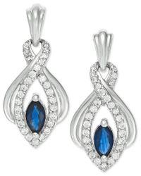 Macy's - Blue Sapphire (3/8 Ct. T.w.) And Diamond (1/4 Ct. T.w.) Earrings In 14k White Gold - Lyst