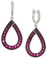 Macy's - Multicolor Ruby (1-9/10 Ct. T.w.) And Diamond (1/10 Ct. T.w.) Teardrop Earrings In 14k White Gold - Lyst