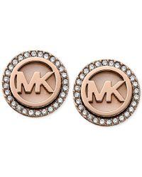 Michael Kors Pink Rose Gold-tone Mk Logo Disc Earrings