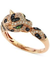Effy Collection - Metallic Effy Diamond (1/2 Ct. T.w.) And Emerald Accent Panther Ring In 14k Rose Gold - Lyst
