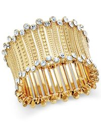 INC International Concepts | Metallic Gold-tone Crystal-trim Stretch Cuff Bracelet, Only At Macy's | Lyst