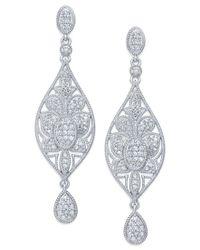 Macy's - Metallic Diamond Drop Earrings In Sterling Silver (1/2 Ct. T.w.) - Lyst