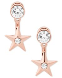 Michael Kors | Metallic Rose Gold-tone Crystal & Star Front-back Earrings | Lyst