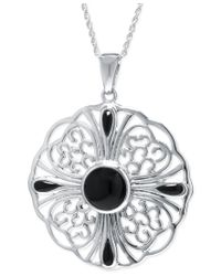 Macy's | Multicolor Dyed Black Agate Filigree Pendant Necklace In Sterling Silver | Lyst