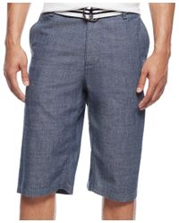 Sean John - Blue Men's Belted Flat-front Chambray Shorts for Men - Lyst