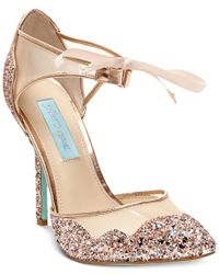Betsey Johnson Pink Stela Front-tie Pumps