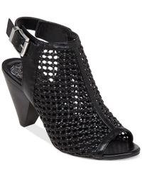 Vince Camuto Black Womens Emillia Peep Toe Casual Ankle Strap Sandals