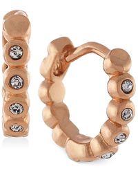 Vince Camuto | Pink Gold-tone Crystal Hoop Earrings | Lyst