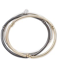 Nine West | Metallic Tri-tone Set Of 3 Stretch Bangle Bracelets | Lyst