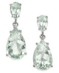 Macy's - Green Gemstone Teardrop Drop Earrings (7 Ct. T.w.) In Sterling Silver - Lyst