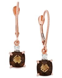 Macy's - Metallic Smoky Quartz (1-3/4 Ct. T.w.) And Diamond Accent Leverback Earrings In 14k Rose Gold - Lyst