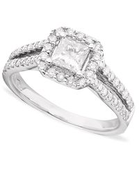 Macy's | White Ideal Cut Diamond (1/4 Ct. T.w.) And Platinum Engagement Ring | Lyst