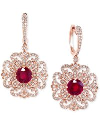 Effy Collection - Metallic Effy Ruby (3-1/3 Ct. T.w.) And Diamond (9/10 Ct. T.w.) Filigree Pattern Drop Earrings In 14k Rose Gold - Lyst