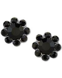 2028 | Metallic Silver-tone Black Stone Floral Stud Earrings | Lyst