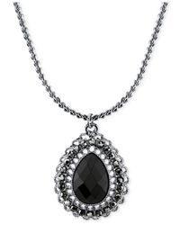 2028 | Metallic Silver-tone Black Stone Teardrop Pendant Necklace, A Macy's Exclusive Style | Lyst