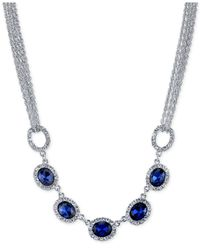 2028 | Metallic Silver-tone Blue Crystal Multi-chain Collar Necklace, A Macy's Exclusive Style | Lyst